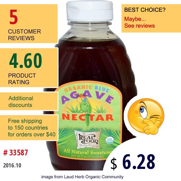 Fun Fresh Foods, Organic Blue Agave Nectar, 16 Fl Oz (473.12 Ml)