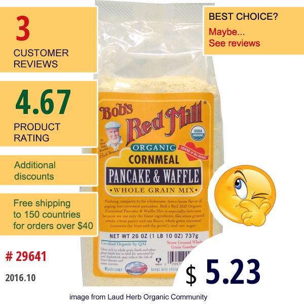 Bobs Red Mill, Organic Cornmeal Pancake & Waffle Whole Grain Mix, 26 Oz (737 G)