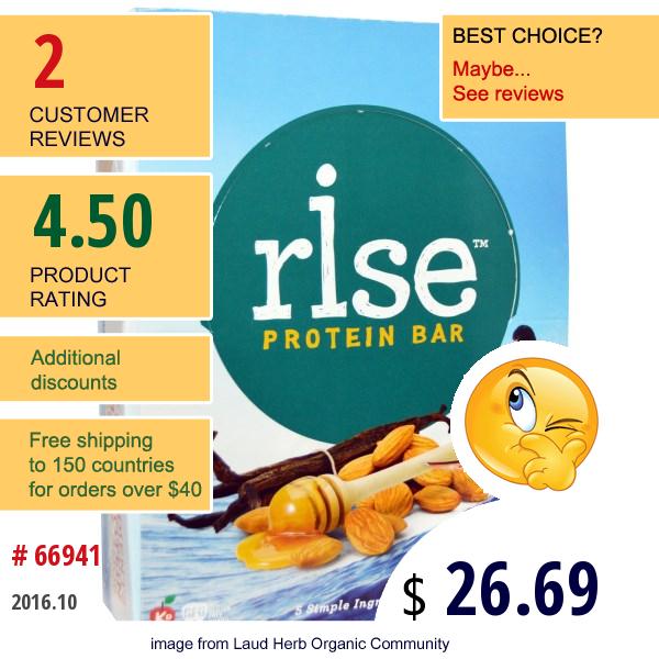 Rise Bar, Protein Bar, Snicker Doodle, 12 Bars, 2.1 Oz (60 G) Each