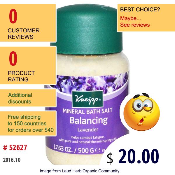 Kneipp, Balancing Mineral Bath Salt, Lavender, 17.63 Oz (500 G)