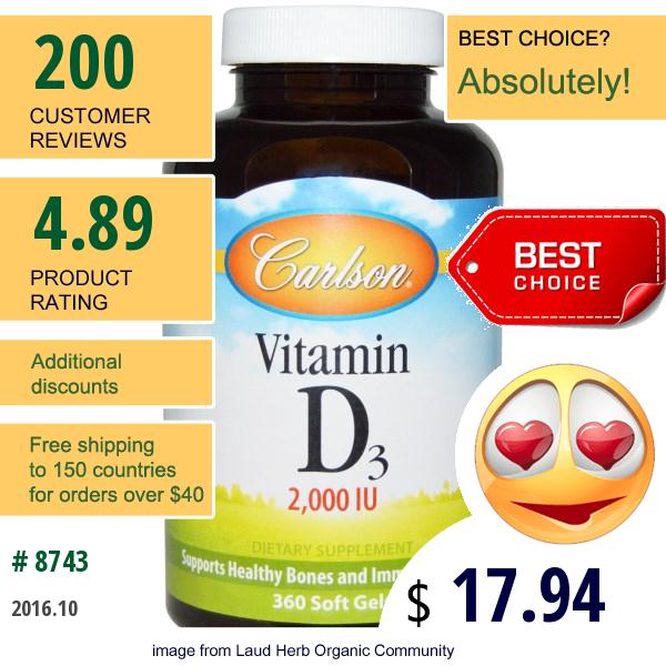 Carlson Labs, Vitamin D3, 2000 Iu, 360 Soft Gels
