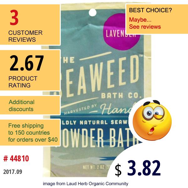 Seaweed Bath Co., Wildly Natural Seaweed Powder Bath, Lavender, 2 Oz (57 G)