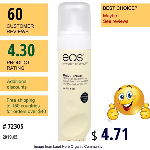 Eos, Shave Cream, Vanilla Bliss, 7 Fl Oz (207 Ml)