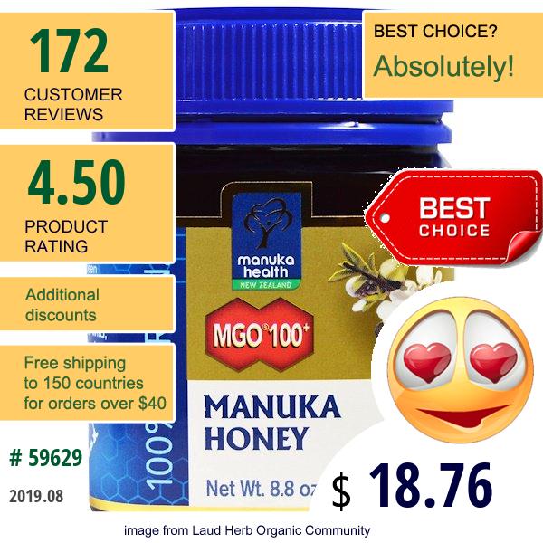 Manuka Health, Manuka Honey, Mgo 100+, 8.8 Oz (250 G)