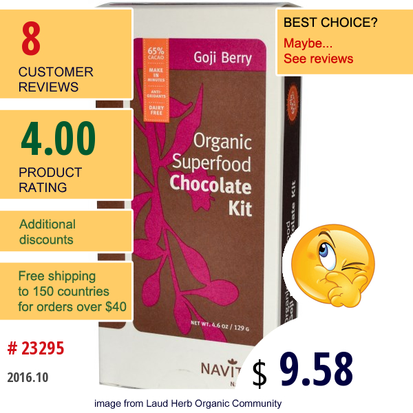 Navitas Naturals, Organic Superfood Chocolate Kit, Goji Berry, 4.6 Oz (129 G)