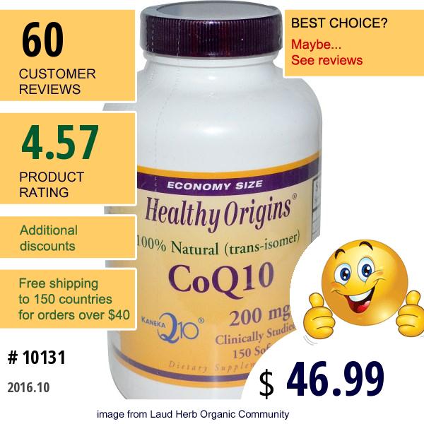 Healthy Origins, Coq10 ( Kaneka Q10 ), 200 Mg, 150 Softgels