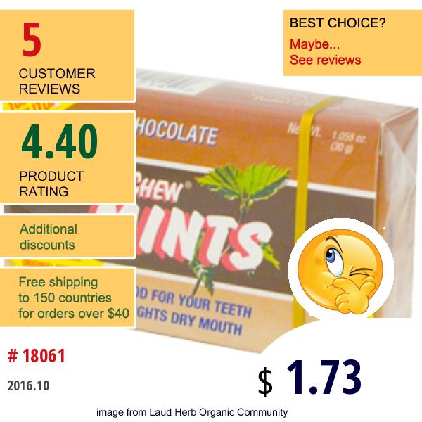 Xylichew Gum, Chocolate Mints, Sugar Free, 1.059 Oz (30 G)