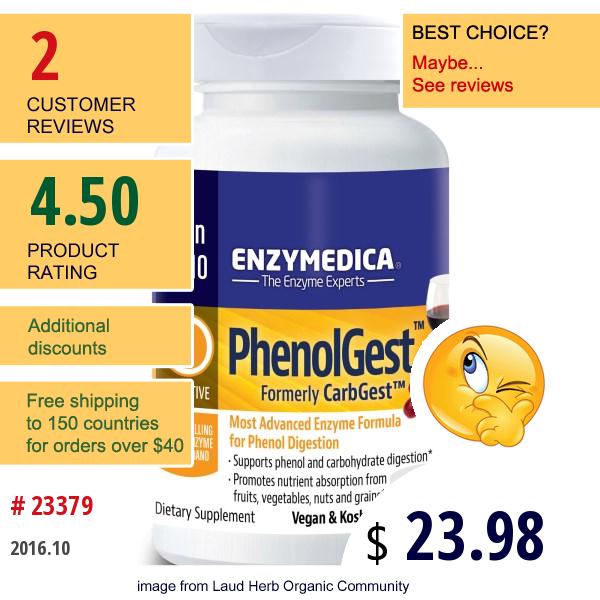 Enzymedica, Phenolgest, 60 Capsules