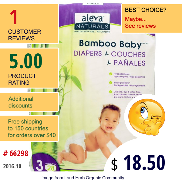 Aleva Naturals, Bamboo Baby Diapers, Size 3, 13-24 Lbs (6-11 Kg), 28 Disposable Diapers