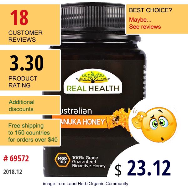 Real Health, Australian Manuka Honey, Mgo 100, 17.6 Oz (500 G)