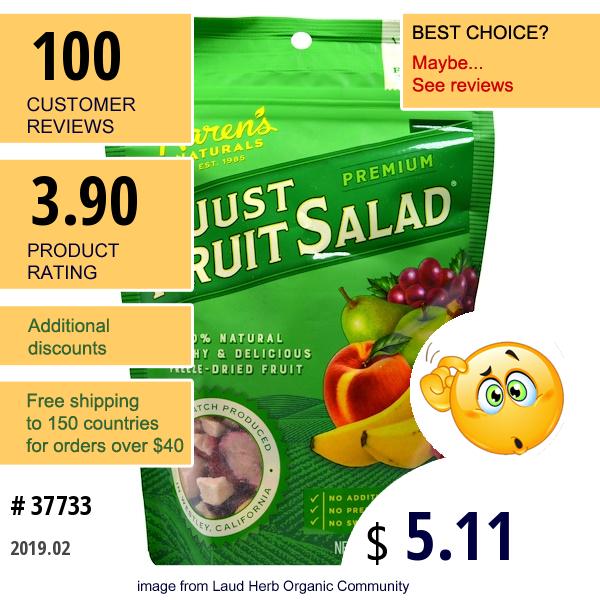 Karens Naturals, Just Fruit Salad, Premium, 2 Oz (56 G)