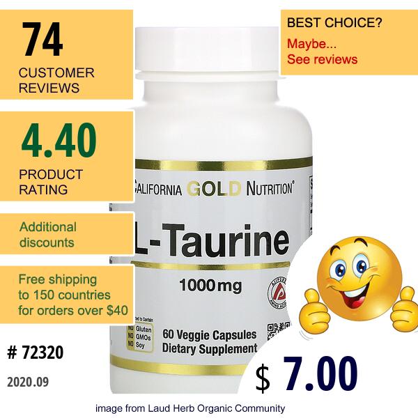 California Gold Nutrition, L-Taurine, 1,000 Mg, 60 Veggie Capsules