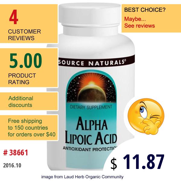 Source Naturals, Alpha Lipoic Acid, 600 Mg, 60 Capsules