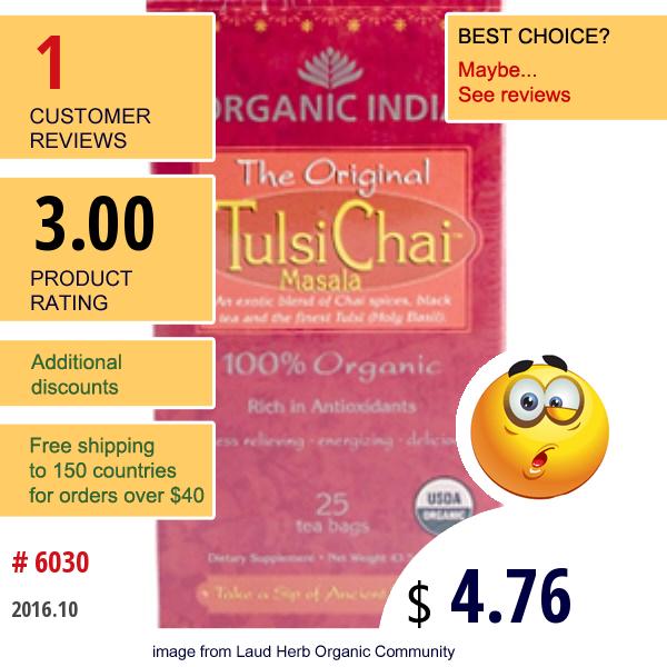 Organic India, The Original Tulsi Chai Masala, 25 Tea Bags