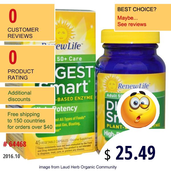 Renew Life, Adult 50+ Care Digest Smart, 45 Veggie Caps