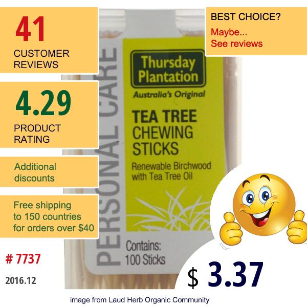 Natures Plus, Thursday Plantation, Tea Tree Australian Chewing Sticks, 100 Count