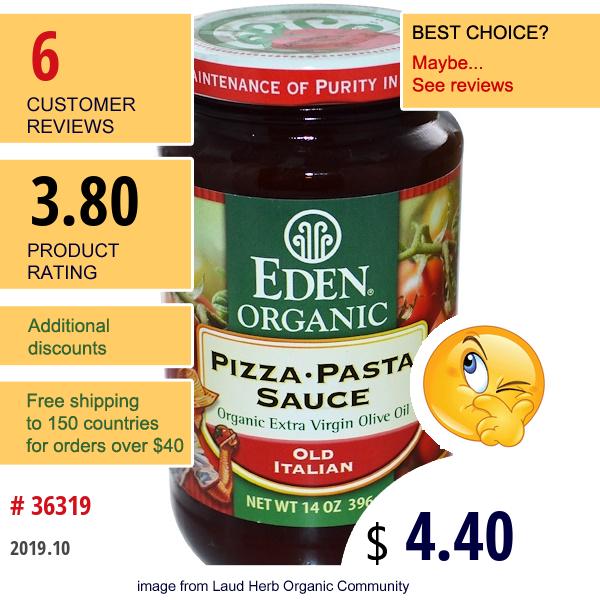 Eden Foods, Organic Pizza • Pasta Sauce, Old Italian, 14 Oz (396 G)