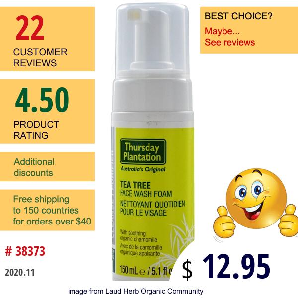 Nature'S Plus, Thursday Plantation, Tea Tree Face Wash Foam, 5.1 Fl Oz (150 Ml)