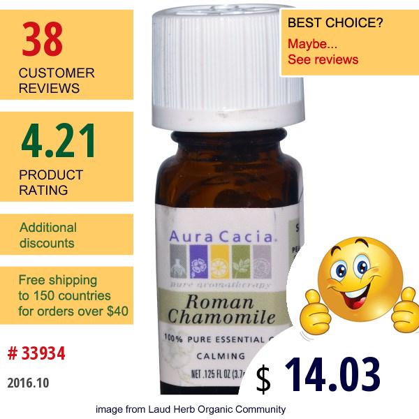 Aura Cacia, 100% Pure Essential Oil, Roman Chamomile, 0.125 Fl Oz (3.7 Ml)