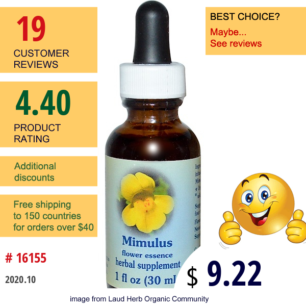 Flower Essence Services, Mimulus, Flower Essence, 1 Fl Oz (30 Ml)