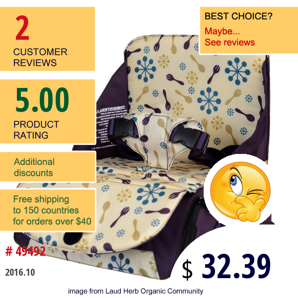 Munchkin, Travel Booster Seat, 12+ Months, Colors May Vary