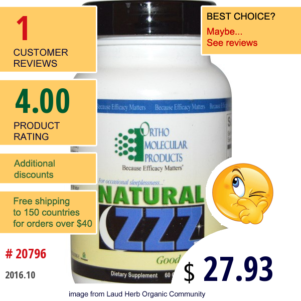 Ortho Molecular Products, Natural Zzzs, 60 Capsules