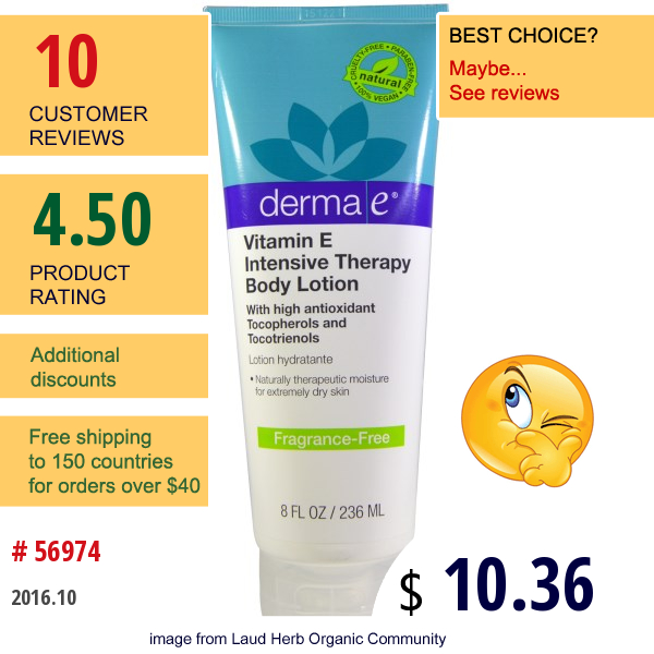 Derma E, Vitamin E Intensive Therapy Body Lotion, Fragrance-Free, 8 Fl Oz (236 Ml)