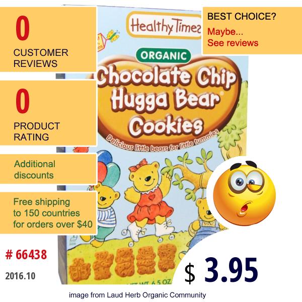 Healthy Times, Organic, Chocolate Chip Hugga Bear Cookies, 6.5 Oz (182 G)