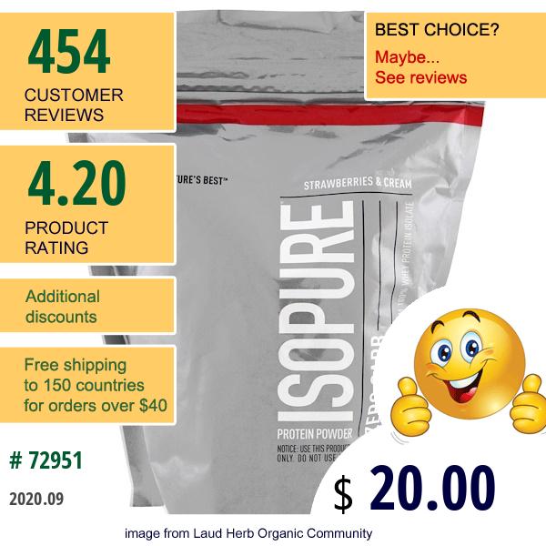 Isopure, Isopure, Protein Powder, Zero Carb, Strawberries & Cream , 1 Lb (454 G)