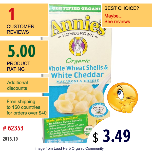 Annies Homegrown, Organic, Macaroni And Cheese, Whole Wheat Shells And White Cheddar, 6 Oz (170 G)
