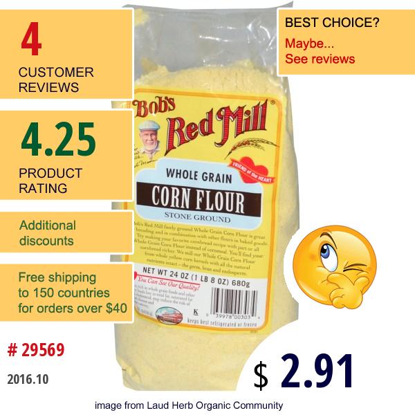 Bobs Red Mill, Whole Grain Corn Flour, 24 Oz (680 G)