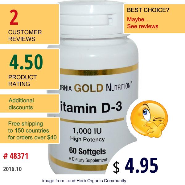 California Gold Nutrition, Vitamin D-3, 1,000 Iu, 60 Softgels