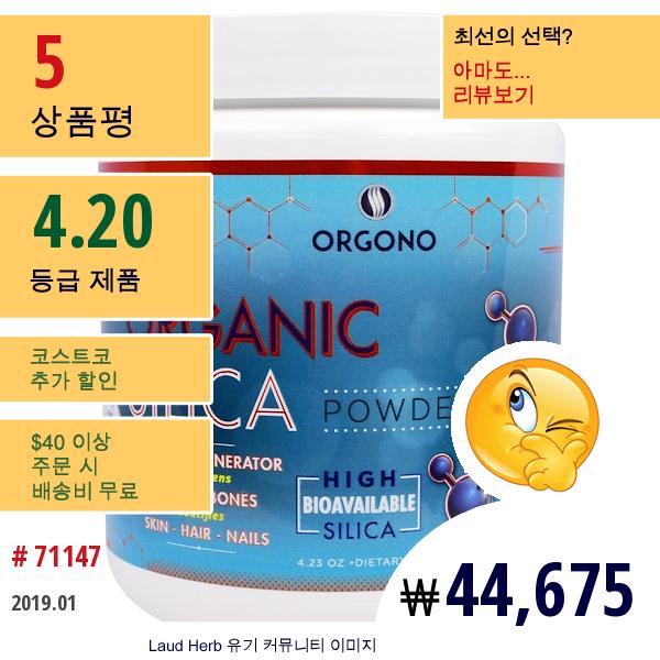 Silicium Laboratories Llc, 오르고노, 유기농 실리카 파우더, 4.23 온스 (120 G)