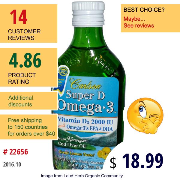 Carlson Labs, Super D Omega·3, Lemon Flavor, 8.4 Fl Oz (250 Ml)