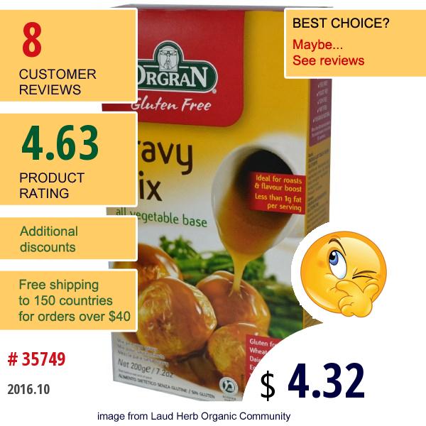 Orgran, Gluten Free Gravy Mix, All Vegetable Base, 7.2 Oz (200 G)