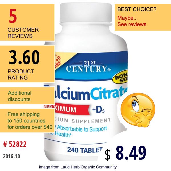 21St Century, Calciumcitrate, Maximum, +D3, 240 Tablets