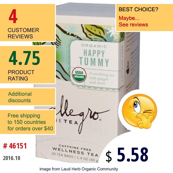 Allegro Fine Tea, Organic Wellness Tea, Happy Tummy, Caffeine Free, 20 Tea Bags, 1.4 Oz (40 G)