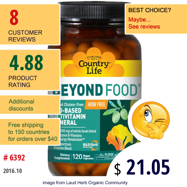 Country Life, Beyond Food, Multivitamin & Mineral, Iron Free, 120 Vegan Caps