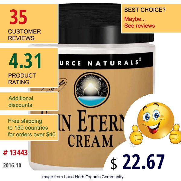 Source Naturals, Skin Eternal Cream, For Sensitive Skin, 4 Oz (113.4 G)