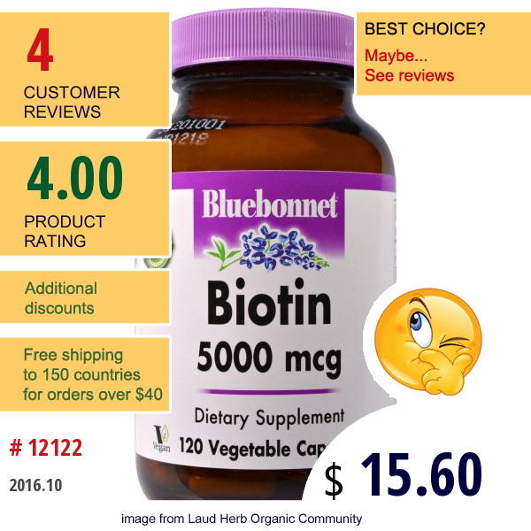 Bluebonnet Nutrition, Biotin, 5,000 Mcg, 120 Veggie Caps