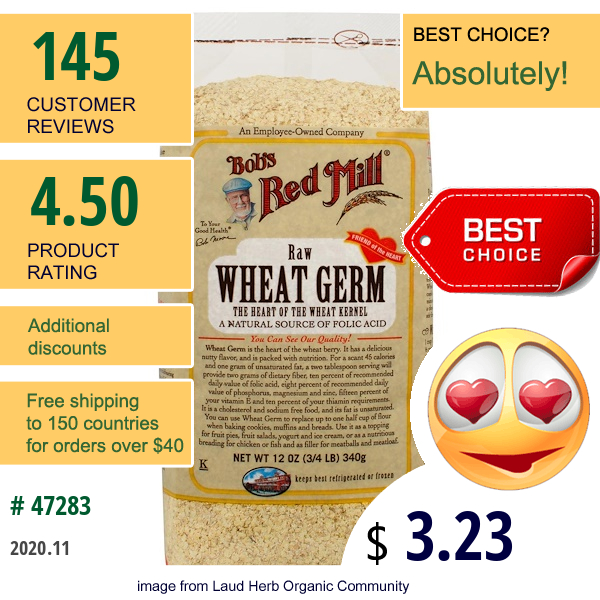 Bob'S Red Mill, Wheat Germ, Raw, 12 Oz (340 G)