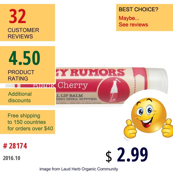 Crazy Rumors, 100% Natural Lip Balm, Black Cherry, 0.15 Oz (4.4 Ml)
