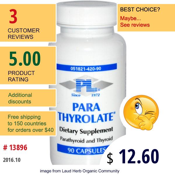 Progressive Laboratories, Para Thyrolate, 90 Capsules