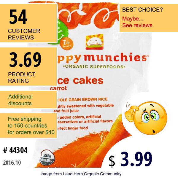 Nurture Inc. (Happy Baby), Happymunchies, Rice Cakes, Carrot, 1.4 Oz (40 G)