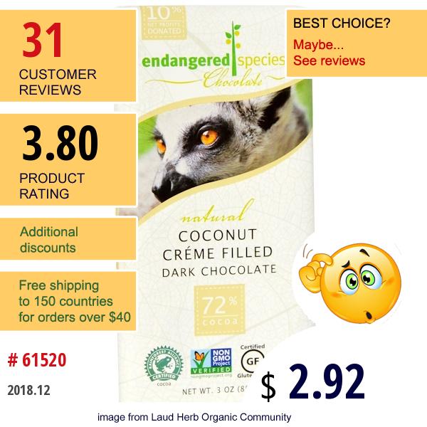 Endangered Species Chocolate, Coconut Creme Filled Dark Chocolate, 3 Oz (85 G)