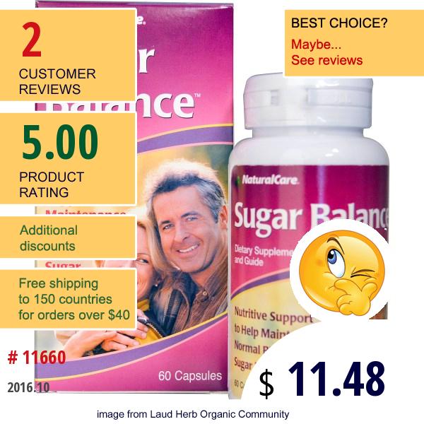 Natural Care, Sugar Balance, 60 Capsules