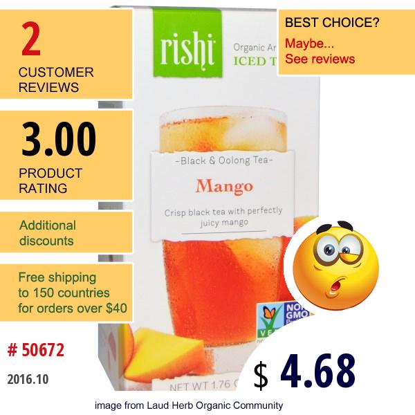 Rishi Tea, Organic Artisan Iced Tea, Black & Oolong Tea, Mango, 5 1-Quart Iced Tea Sachets, 1.76 Oz (50 G)