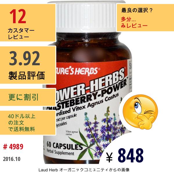 Natures Herbs, Power-Herbs, チェストベリーパワー, 60 カプセル