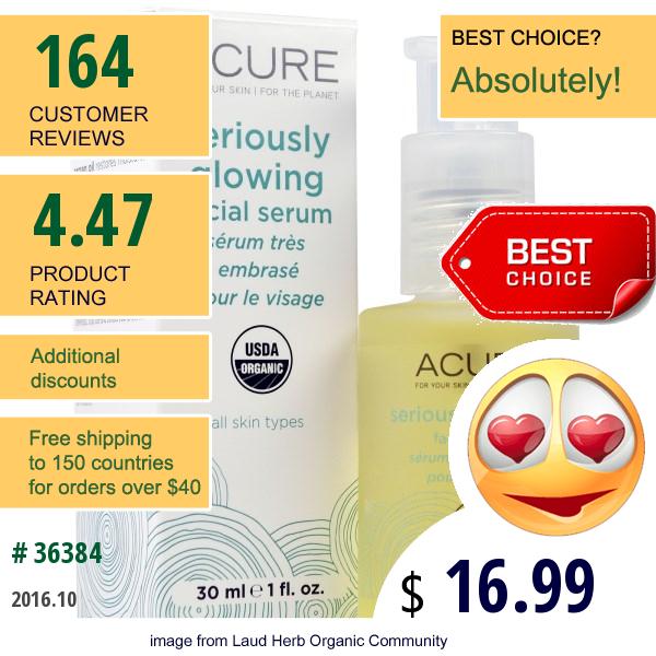 Acure Organics, Seriously Glowing Facial Serum, 1 Fl Oz (30 Ml)
