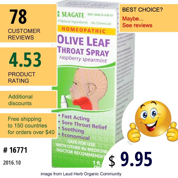 Seagate, Olive Leaf Throat Spray, Raspberry Spearmint, 1 Fl Oz (30 Ml)